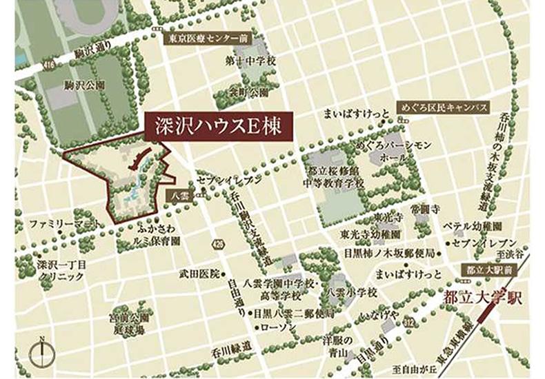 深沢ハウス E棟 周辺地図 イメージ