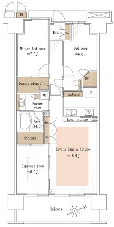 溝の口ガーデンアクアス ビューウィング(A棟) 間取り図